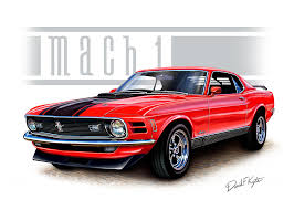 1970 Mustang Mach 1 Black 1970 Mustang Mach 1 Red Painting By David Kyte