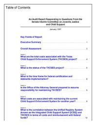 texas child support table an audit report responding to questions from the senate interim