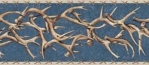 western deer antlers country wallpaper border ta39014b ebay