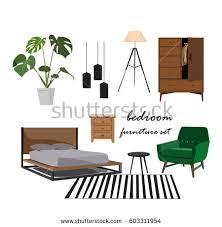 Home Design Mood Board Bedroom Furniture Set Interior Design Home Stock Vector 603311954
