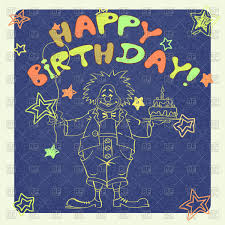 hand drawn birthday card with clown vector clipart image 72949