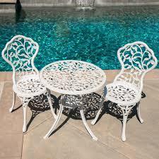 Balcony Bistro Set Patio Furniture 3pc Bistro Set Patio Table Chairs Ivory Furniture Balcony Pool