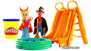 waterslide spiderman elsa fun halloween inflatable toy play doh