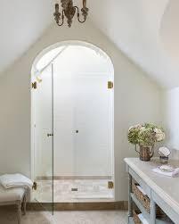 Arched Shower Door Arched Shower Door Entrance With Beige Tumbled Grid Floor Tiles