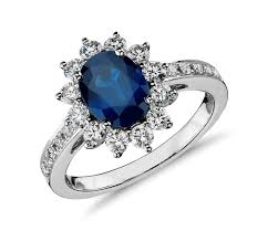 sapphire engagement rings oval sapphire and halo ring in 18k white gold 8x6mm
