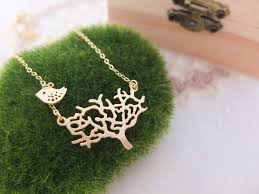 tree necklace gold necklace bird necklace dainty necklace simple