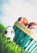 sports easter eggs easter egg hunt with sports shaped easter eggs stock photo