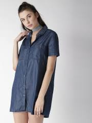 buy forever 21 blue denim shirt dress dresses for women myntra