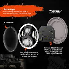 jeep headlights at night amazon com rgb halo 7 inch led headlights for jeep wrangler plug