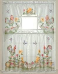 Butterfly Kitchen Curtains 3 Pc Kitchen Cafe Curtain Set 60 X 36 Stripe U0026 Tassel