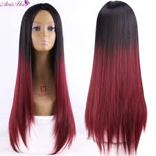 online shop long red layered hairstyle root dark red burgundy wig