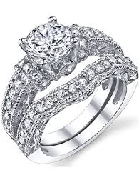 silver wedding ring sets 1 25 carat solid sterling silver wedding engagement