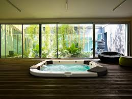 House Design Bay Windows Design Ideas Mesmerizing Indoor Jacuzzi Spa On Wooden Deck Faced
