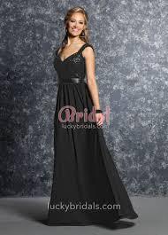 black sequin and chiffon cap sleeve a line long bridesmaid dress
