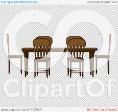 cartoon of a wooden dining room table and chairs royalty free