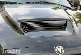 nissan titan hood scoop volant cool air intake system 2005 dodge ram srt 10 truckin