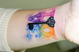 love watercolor nice letters key tattoo on wrist golfian com