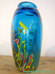 Italian Glass Vases Murano Vase Art Glass Blue Floral 20th Century Italian Shop