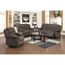 Ellis Contemporary Microfiber Piece Living Room Set Dark Brown - Three piece living room set