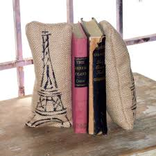 eiffel tower petit feed sack pillow pair unique paper weight