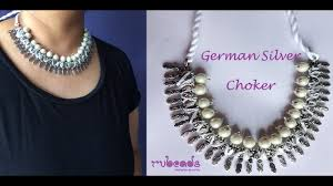 jewelry making necklace images How to make german silver choker necklace with pearl beads jpg