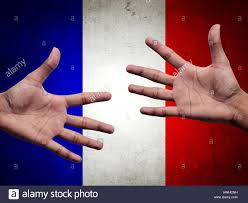 French Flag Background Support And Assistance Human Hands Over France Flag Background