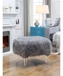 Faux Fur Ottoman Inspired Home Gray Tessa Luxe Faux Fur Ottoman Zulily