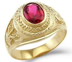 mens rings ruby images New solid 14k yellow gold mens large fashion red simulated ruby jpg