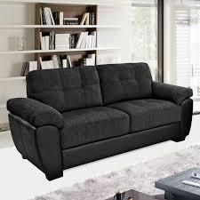 3 Seater Corner Sofa Newport Black Fabric U0026 Leather Match Sofa Collection