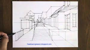 draw a street scene in one point perspective youtube