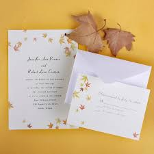 affordable wedding invitations ivory and yellow maple leaves fall affordable wedding invitation