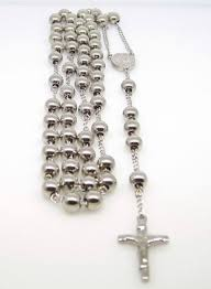 white rosary 14k white gold finish mens rosary chain necklace cross