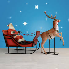 Lighted Santa And Reindeer Outdoor by Santa Sleigh And Reindeer Displays Indoor Or Outdoor