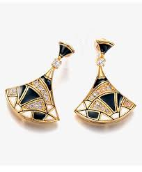 black dangle earrings diamond fan shaped black dangle earrings for women fashion mela