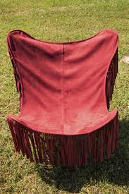 red barn home decor junk gypsy red suede fringe butterfly chair for their new home