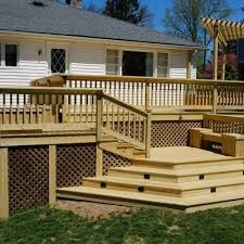 Deck Planters And Benches - beautifully designed pressure treated deck in chatham new jersey