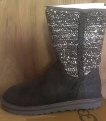 ugg womens lyla boots charcoal ugg australia nib 159 lyla sequin sparkle charcoal gray s