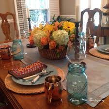 one fall centerpiece three tablescapes living with thanksgiving