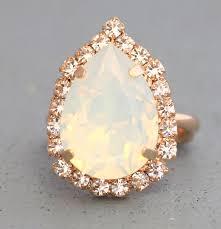 white opal white opal ring teardrop ring opal swarovski ring white opal