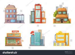 Building House Flat Design Retro Modern City Houses Stock Vector 570606412