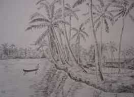 kerala backwaters and coconut trees drawing by shibin varghese
