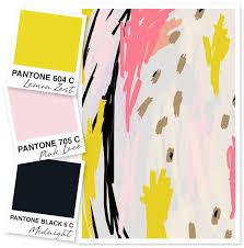 bold colors lemon yellow pale pink and black color palette modern colors