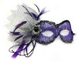 purple lace masquerade mask for women