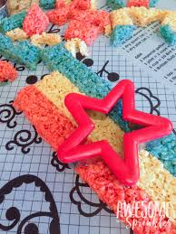 red white and blue star crispies awesome with sprinkles