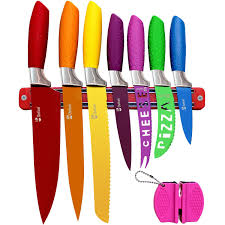 chefcoo kitchen all in one cutlery knife set with magnetic strip