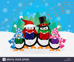 christmas carolers penguins christmas carolers with hats and scarfs with winter snow