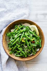green bean salad with peas chard and dijon tarragon vinaigrette