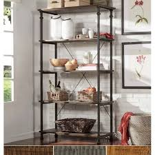 myra vintage industrial modern rustic 40 inch bookcase by inspire