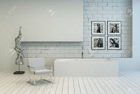 Modern White Bathrooms by Modern White Bathroom With A Recessed Brick Wall And White Painted