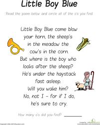 find the letter o little boy blue little boy blue nursery